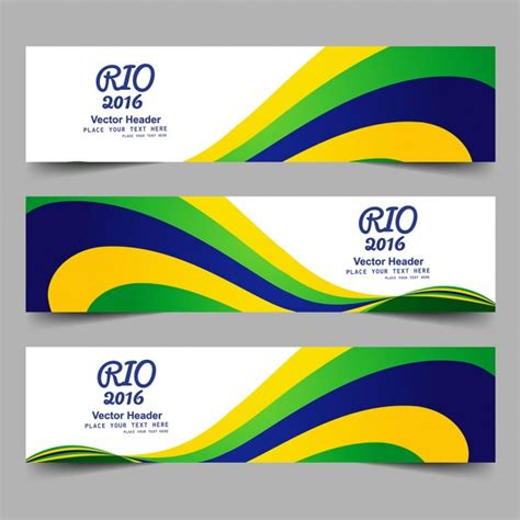 brazil colors brazil color banners with waves vector free