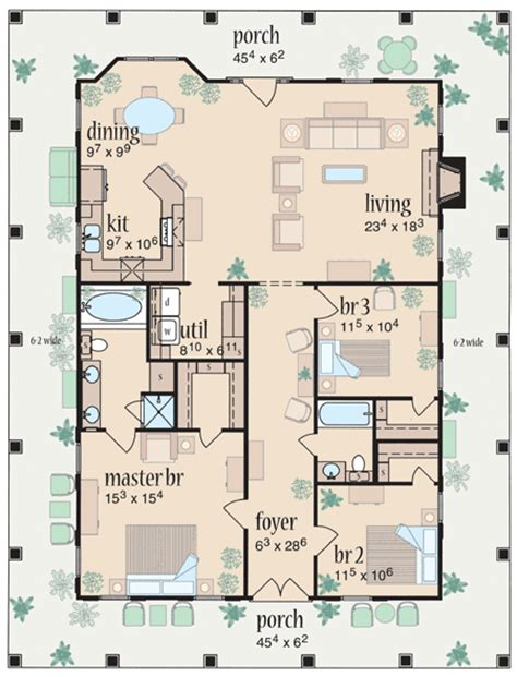 one level house plans with porch marvelous wrap around porch 8462jh 1st floor master