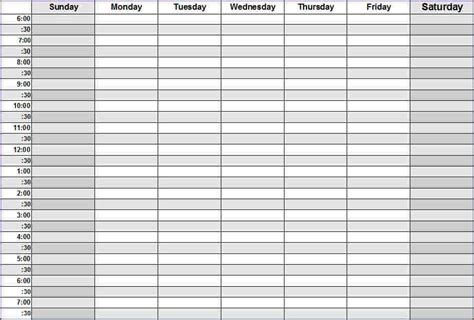 A weekly schedule template   Business Proposal Templated