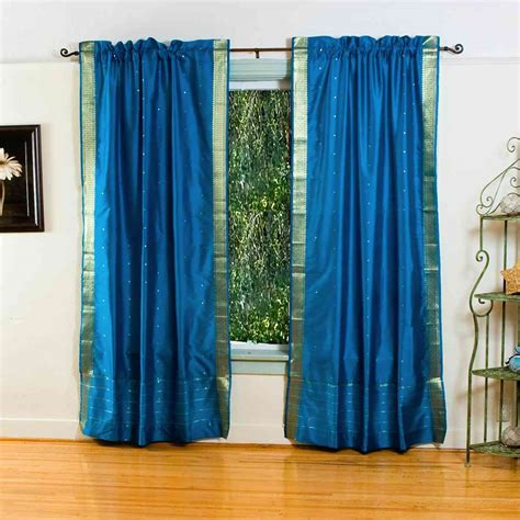 Turquoise Sheer Curtains Turquoise Rod Pocket Sheer Sari Curtain Drape Panel Pair Ebay