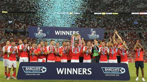 arsenal trophy arsenal win premier league asia trophy after defeating everton