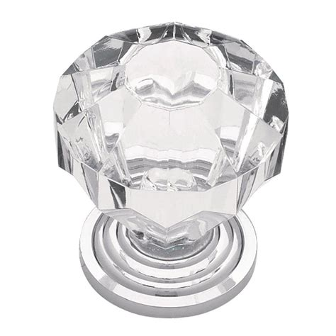 Clear Acrylic Knobs by Liberty 1 1 4 In Chrome With Clear Faceted Acrylic