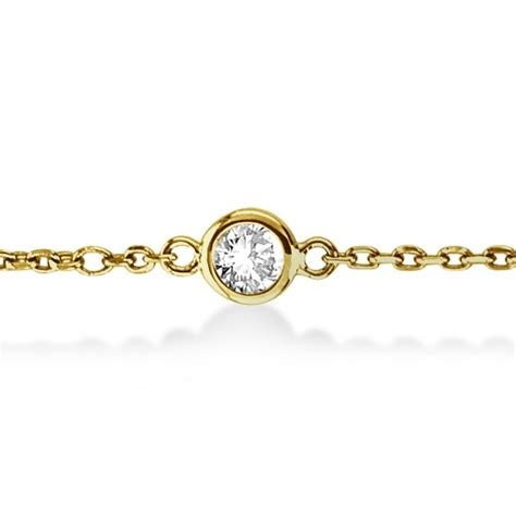classic gold diamonds by the yard cz for real housewives diamond station bracelet bezel set 14k yellow gold 1 00ct