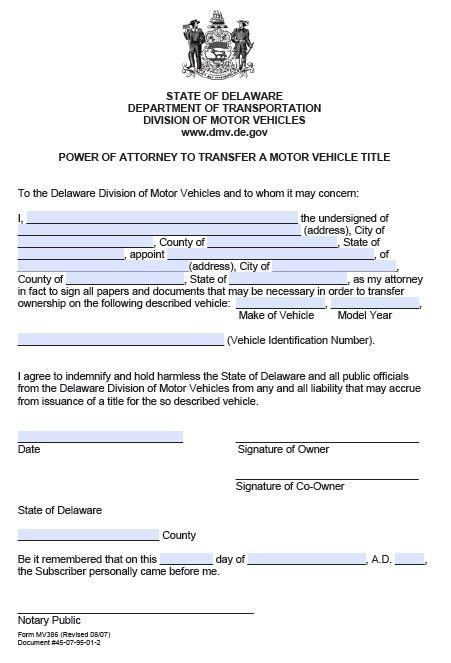 Free Motor Vehicle Transfer Power Of Attorney Delaware Pdf Power Of Attorney To Sell A Car Template