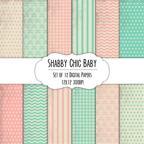 shabby chic baby digital scrapbook paper 12x12 pack set of