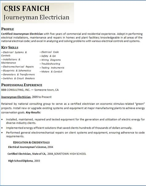 Sle Journeyman Electrician Resume by Journeyman Electrician Resume Exles Ilivearticles Info