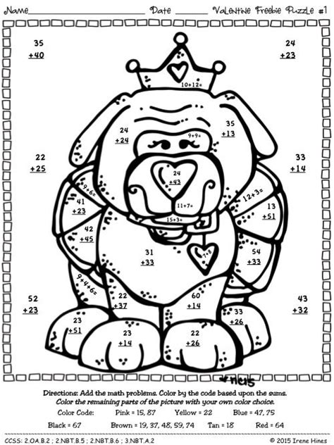 valentine math coloring page freebie valentine seasonal math printables color by the