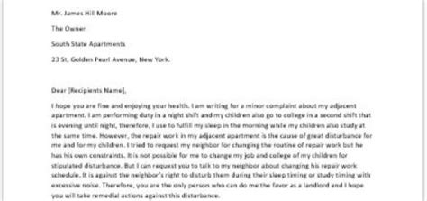 Complaint Letter To Landlord About Noise Sle Complaint Letter To Writeletter2