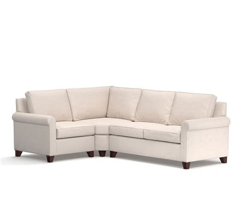 Cameron Roll Arm Upholstered 3 Piece Sectional With Wedge