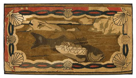 nautical hooked rugs lot 33 19th c nautical hooked rug willis henry auctions inc