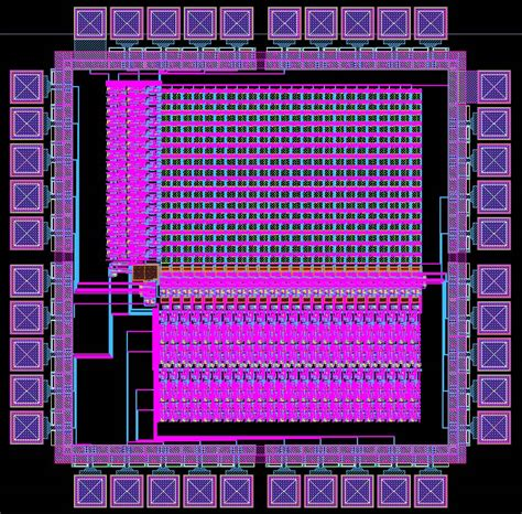 analog layout design course layout of the entire chip with padframe included