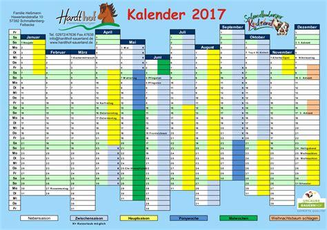 Nrw Kalender 2017 Preisliste 2017 Urlaub Auf Dem Bauernhof Im