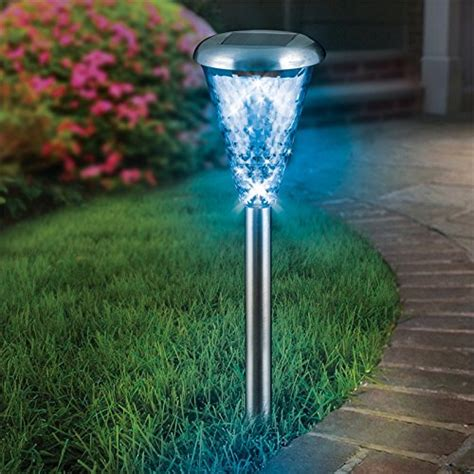 8 pack glass lens stainless steel solar lights outdoor