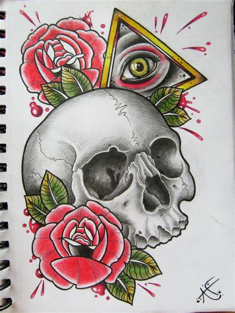 tattoo flash traditional skull all seeing skull by frosttattoo on deviantart