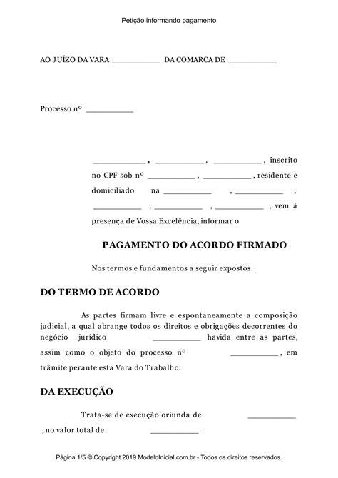 Petição De Juntada De Comprovante De Pagamento De Acordo