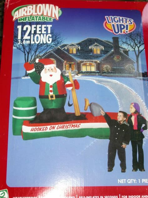 inflatable santa in boat new 12 gemmy santa bass boat lighted airblown up ebay