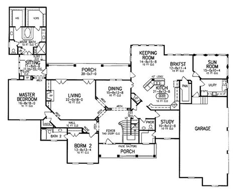house plans with keeping rooms floor plan with keeping room sun room mbr wing porch