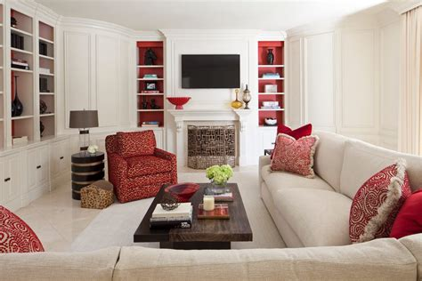 Blooming red couch decor living room contemporary with great kitchen patio