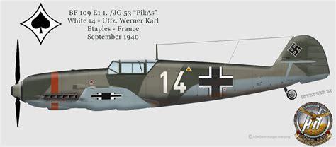 bf 109 e1 jagdgeschwader 53 jg 53 quot pik as quot 39 40 ecpad luftwaffe wwii luftwaffe profiles by adlerhorst hangar design group jg 53 emil profiles