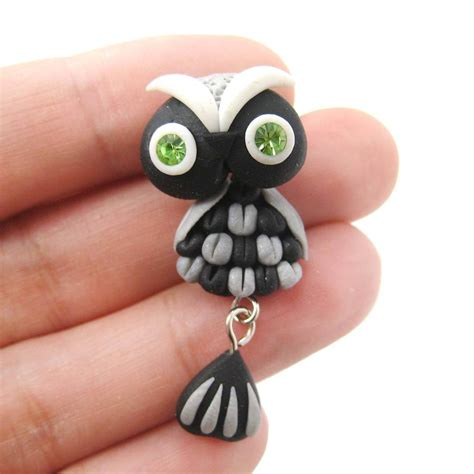 Handmade Owls - handmade owl bird two part polymer clay stud earring in black