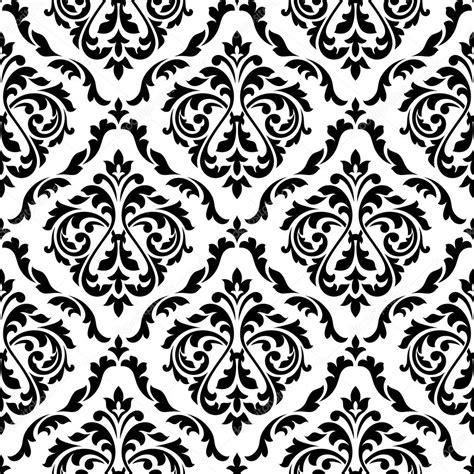 black and white elegant pattern damask black and white floral seamless pattern stock