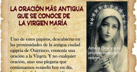 indice de oraciones y devociones a la virgen mara 2016 jesusvalmeyana la oraci 243 n a la virgen m 225 s antigua