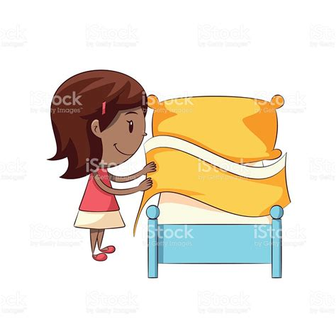 le make this bed little girl making bed stock vector art 544664886 istock