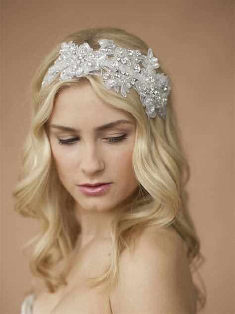 Wedding Headbands by Sculptured Lace Wedding Headband With Crystals