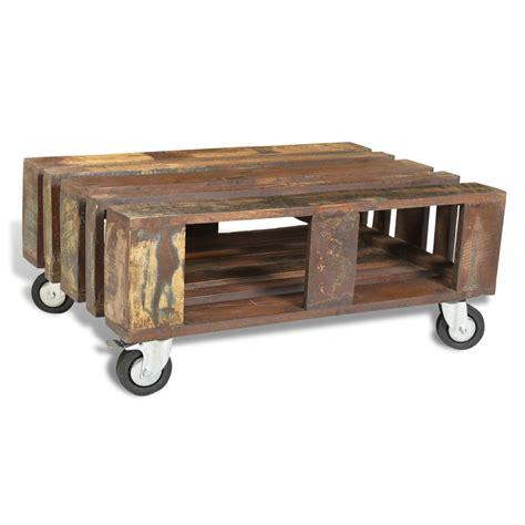 salontafel hout kopen salontafel gerecycled hout met 4 wieltjes online kopen
