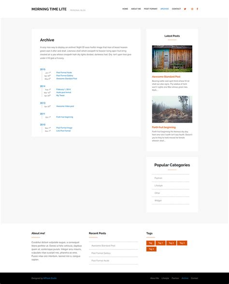 gallery wordpress theme wp archive wp archive morning time free personal blog wordpress theme