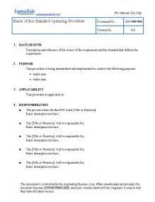 Standard Operating Guidelines Template by Standard Operating Procedure Exles Sop Exles