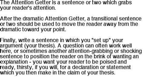 Exles Of Attention Getters For Essays by Attention Getters For Writing An Essay