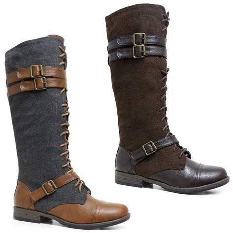 womens mid calf knee high lace zip combat