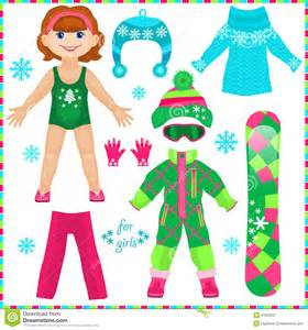 paper doll with a set of clothes cute fashion stock