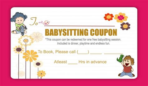 babysitting coupon book template 20 free babysitting coupon templates to skyrocket your