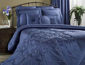 4pc royal blue medallion quilted sateen comforter set by