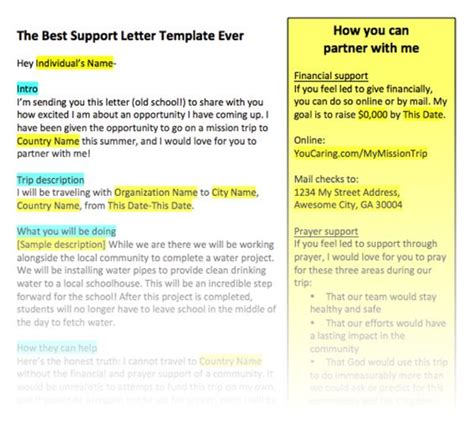 missions support letter template the best support letter template seriously