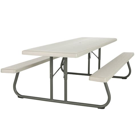 plastic folding picnic table bench lifetime 80123 30 quot x 96 quot rectangular putty plastic folding