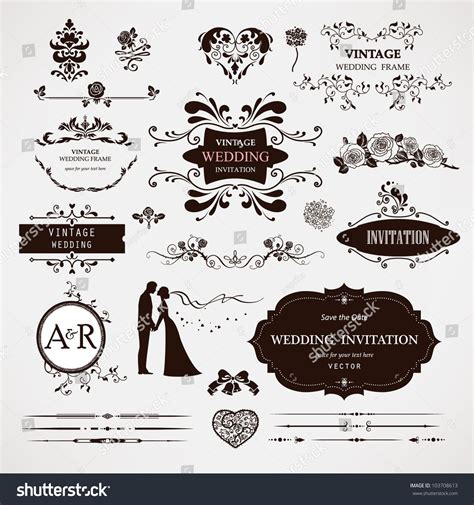 Vector Wedding Design Elements And Calligraphic Page Decoration | vector design elements calligraphic page decorations stock