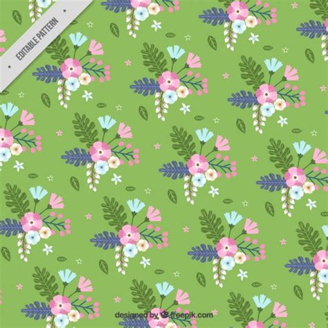 flat background pattern free flat floral pattern with green background vector free