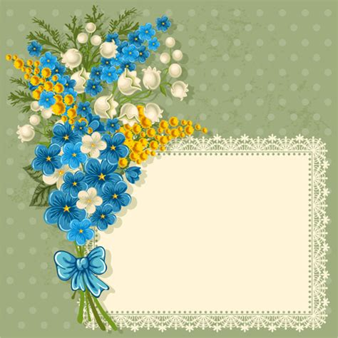 blue flower with lace frame vector vector flower vector