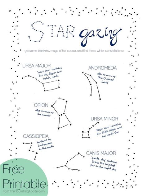 printable star constellation map stargazing get some blankets mugs of hot cocoa and find