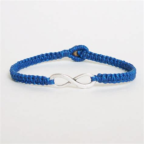 Blue Bracelet navy blue infinity bracelet simple single silver