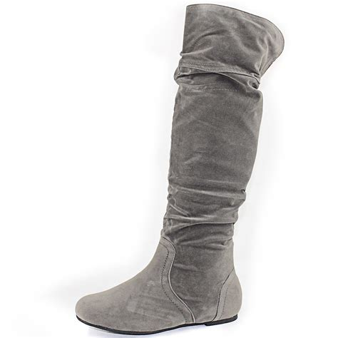 grey boots grey faux suede slouchy flat boots slouch knee high folod