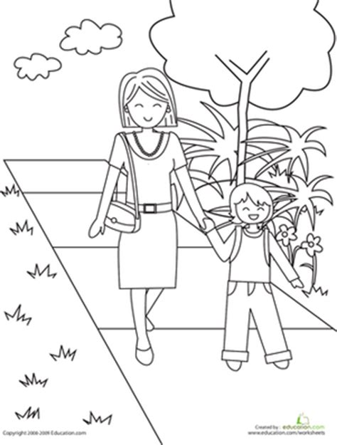 person walking coloring page color the walk to school worksheet education com