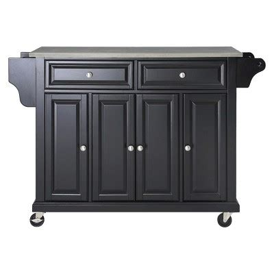 stainless steel top kitchen island wood black crosley