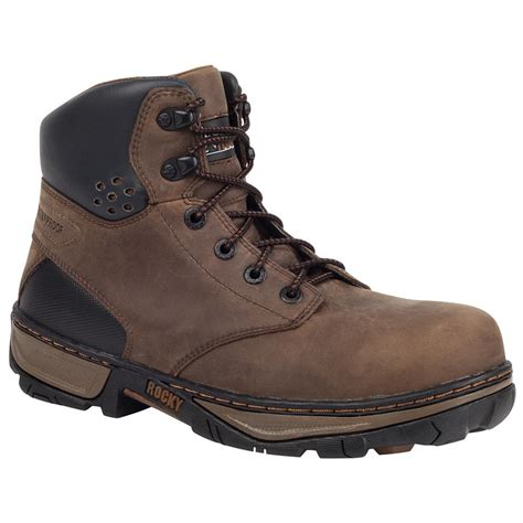 waterproof work boots for rocky 174 forge 6 quot steel toe waterproof work boots darkwood