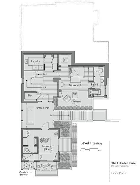 Floor Plan Level 1 Hillside House California By Sb House Plans Of Architects