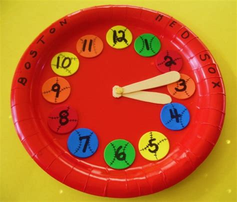 Paper Plate Clock Craft - learning ideas grades k 8 make a baseball paper plate