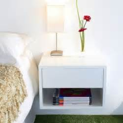 floating wall mounted bedside table small space interior